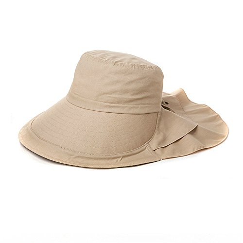 79d9559b6841ef Siggi Summer Bill Flap Cap UPF 50+ Cotton Sun Hat with Neck Cover Cord Wide  Brim for Women Khaki
