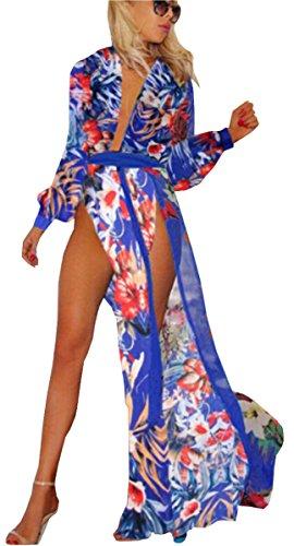ea4ea14e5c62e Women's summer boho long Maxi Chiffon Print Flower Furcal Cover Up dress.  Uget