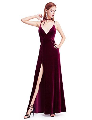 Ever-Pretty Women s Velvet Spaghetti Strap V Neck Evening Dress with Thigh  High Slit 07181 a971b3441
